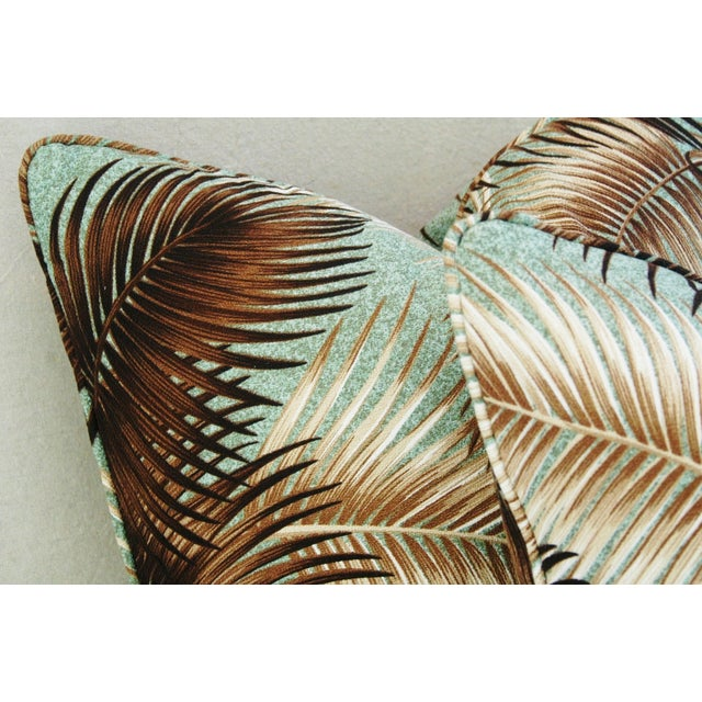 Mid-Century Palm Leaves Barkcloth Pillows - Pair - Image 6 of 9