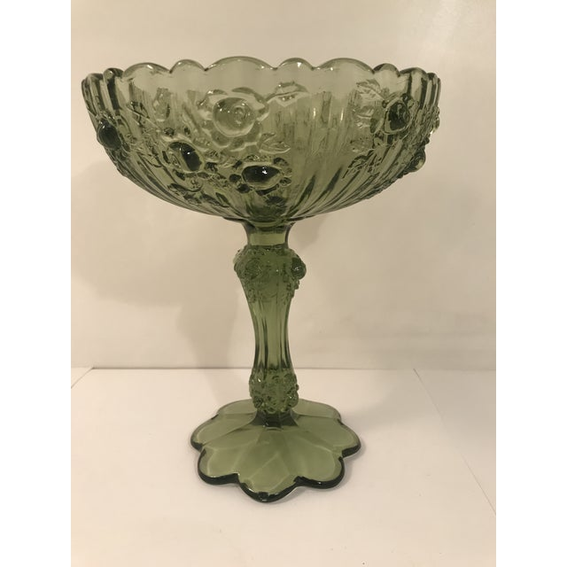 Fenton Art Glass Company Fenton Cabbage Rose Colonial Green Glass Footed Candy Dish Compote For Sale - Image 4 of 6