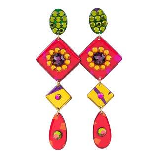Oversized Pop Art Shoulder Duster Multicolor Lucite Clip Earrings For Sale