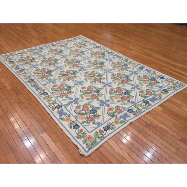 Handmade Needlepoint Rug - 6' x 9' For Sale In Atlanta - Image 6 of 7