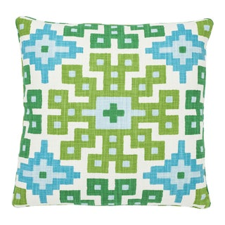 Schumacher Palmetto Print Pillow in Lagoon For Sale