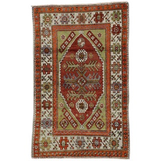 20th Century Turkish Colorful Oushak Rug - 3′ × 4′9″ For Sale