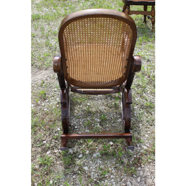 American Vintage Rattan Rocking Chair For Sale - Image 3 of 9