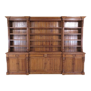 Country French Carved Pine Open Shelf Wall Cabinet For Sale