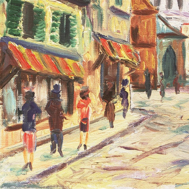 'Place Du Tertre, Montmartre, Paris' by Rammy, Mid-Century Post-Impressionist Oil For Sale In Monterey, CA - Image 6 of 9