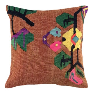 "Funky Floral Vintage Kilim Pillow | 16"" For Sale"