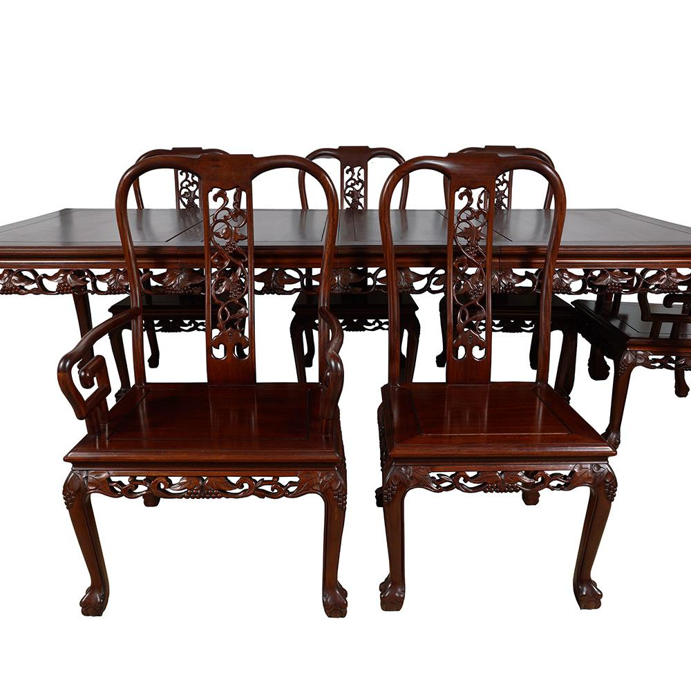 Rosewood Vintage Chinese Carved Rosewood Dining Set For Sale   Image 7 Of 13