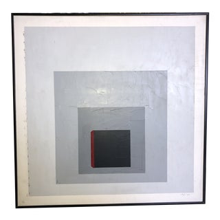 1970s Postmodern Abstract Geometric Oil Painting by Sigi, Framed For Sale