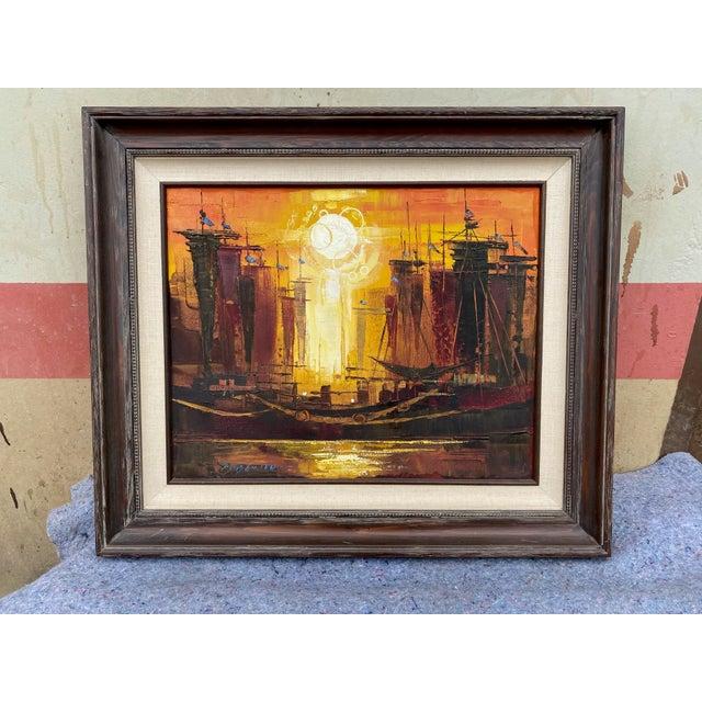 1970s 1970s Modernist Naval Scene Oil Painting by Roald Hansen, Framed For Sale - Image 5 of 5