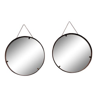 Still Domus Italian Leather Mirrors - a Pair For Sale