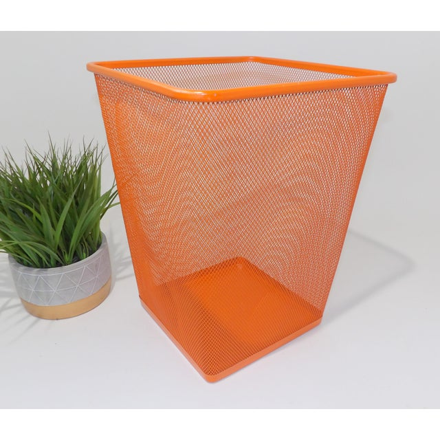 Metal Mid Century Modern Orange Metal Wire Trash Can For Sale - Image 7 of 8