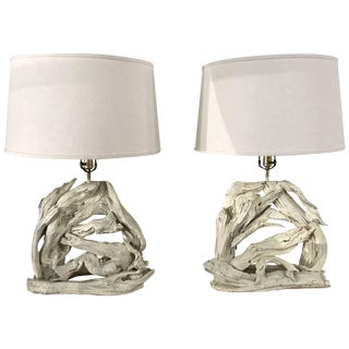 Monumental Pair of Driftwood Lamps For Sale