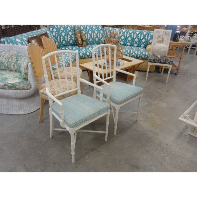 Faux Bamboo Palm Beach Faux Bamboo Arm Chairs - a Pair For Sale - Image 7 of 10