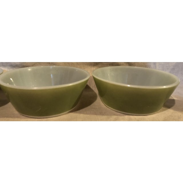 Federal Glass Federal Avocado Green Cereal Bowls - Set of 4 For Sale - Image 4 of 8