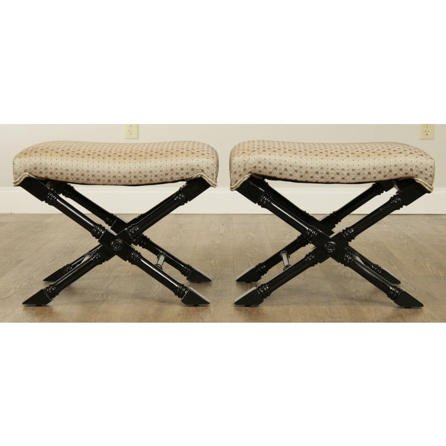1980s Regency Style Black Lacquered Pair X Benches For Sale - Image 5 of 13