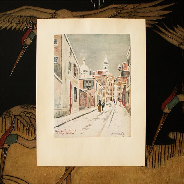 """Impressionism 1950s Maurice Utrillo, """"Sacre-Coeur De Montmartre and Passage Cottin"""" First Edition Lithograph For Sale - Image 3 of 8"""