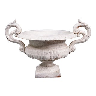 Antique 19th Century French White Medici Cast Iron Urn For Sale