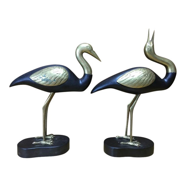 Brass & Wood Herons - A Pair For Sale
