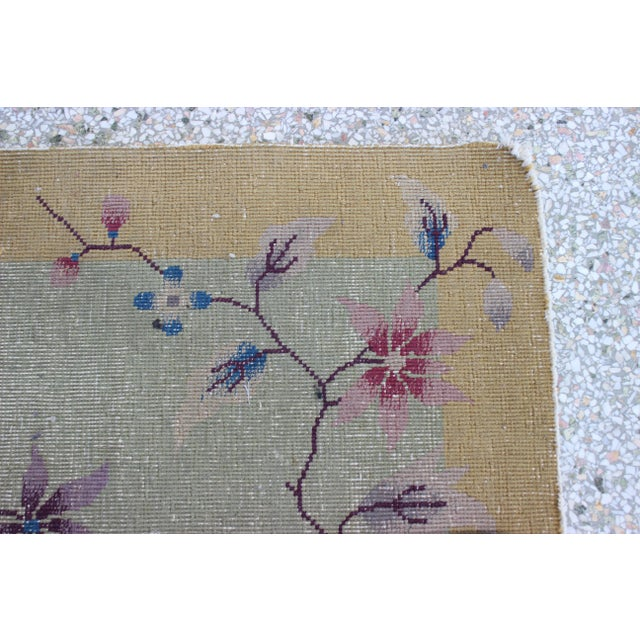 Asian Antique 1924 Nichols Wool Rug Tientsin North China Flowers Motif For Sale - Image 3 of 10