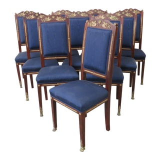 Early 20th Century Antique Empire Style Dining Chairs - Set of 10 For Sale