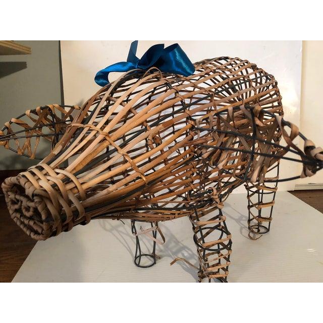 Boho Chic Vintage Wicker Decorative Pig Metal Art For Sale - Image 3 of 9