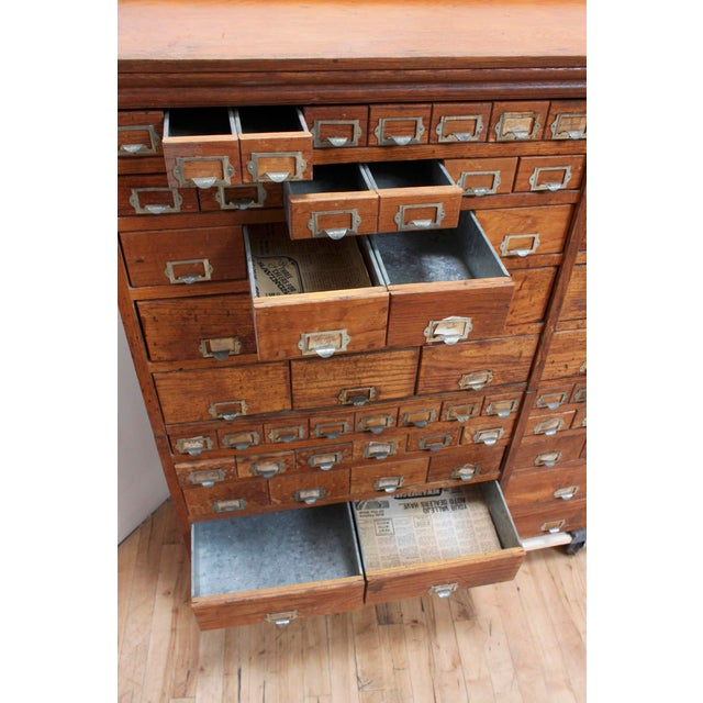 Metal Primitive Vintage Oak Cabinet- Apothecary, Card Catalog, General Store,  Antique Hardware - Primitive Vintage Oak Cabinet- Apothecary, Card Catalog, General