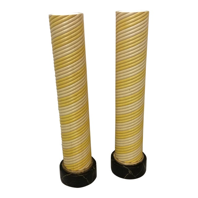 Hollywood Deco Column Torcheres - a Pair For Sale