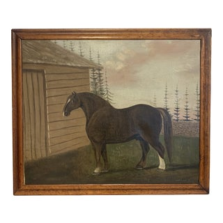 """1836 Antique """"Horse in Barnyard"""" Oil on Canvas Painting For Sale"""