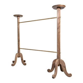 Parisian Brass and Bleached Oak Garment or Clothing Rack from Galeries Lafayette For Sale