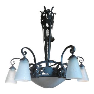 Signed Art Deco Muller Freres Wrought Iron and Frosted Glass Chandelier For Sale