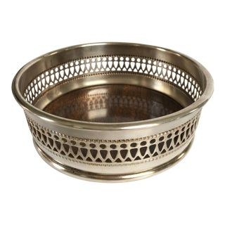 Mid- Century Silver Plate & Laminate Wood Reticulated Wine Coaster For Sale