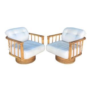 Vintage Brown Jordan Rattan Swivel Chairs - A Pair