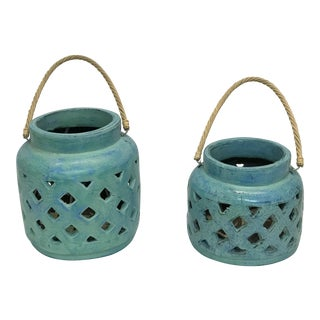 Set of 2 Terra Cotta Turquoise Lantern