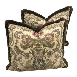 Vintage French Bird Fabric Pillows - a Pair