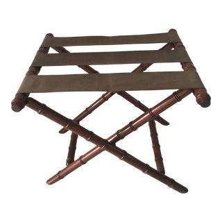 Vintage Bombay Company Faux Bamboo Wood Folding Luggage Rack With Straps For Sale