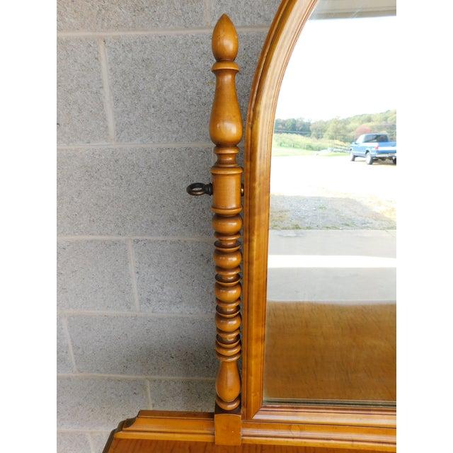 English Vintage Tiger Maple Vanity & Mirror Set For Sale - Image 3 of 13