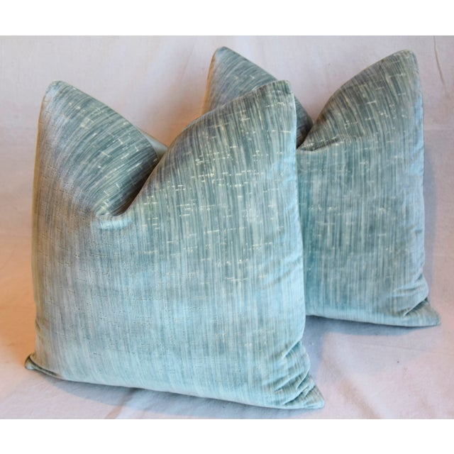 """Green Clarence House Velvet Fabric Feather/Down Pillows 21"""" Square - Pair For Sale - Image 8 of 13"""
