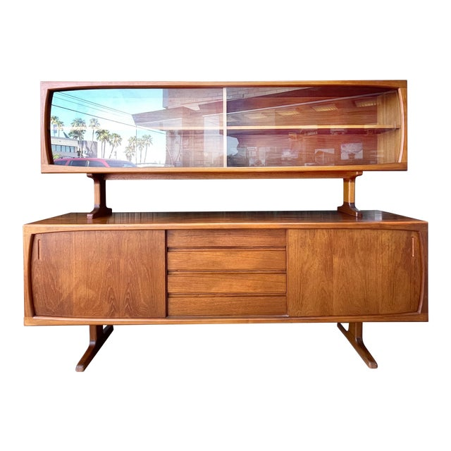 1970s Danish Modern Teak Credenza With Floating Top For Sale