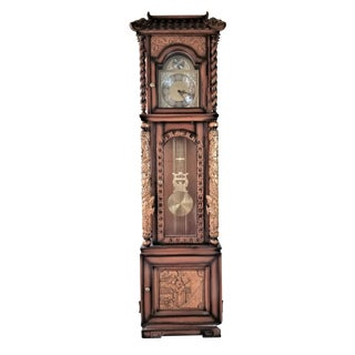1970s Vintage Chinese Highly Carved Tempus Fugit Grandfather Clock For Sale