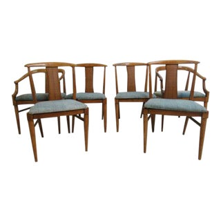 Mid-Century French Regency T Back Dining Room Side Arm Chairs - Set of 6 For Sale