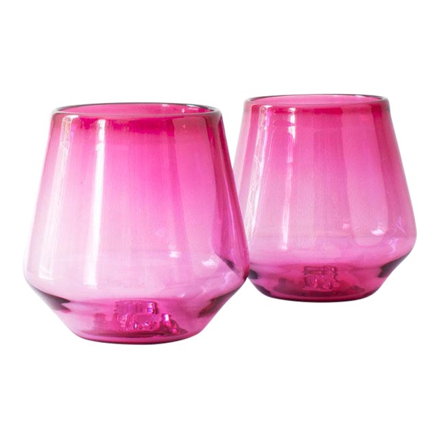 Suite One Studio Peony Pink Angled Wine Glasses - A Pair For Sale - Image 4 of 4