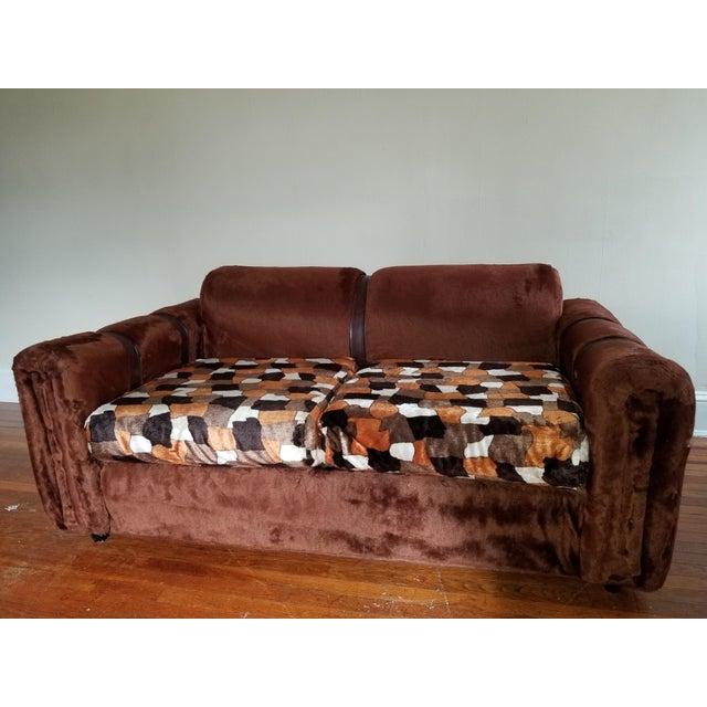 1970s Vintage Brown Fur/Orange Patchwork Pattern Loveseat For Sale In Baltimore - Image 6 of 6