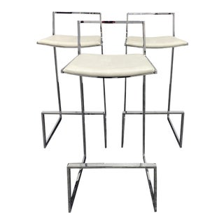 Late 20th Century Milo Baughman Style Barstools - Set of 3 For Sale