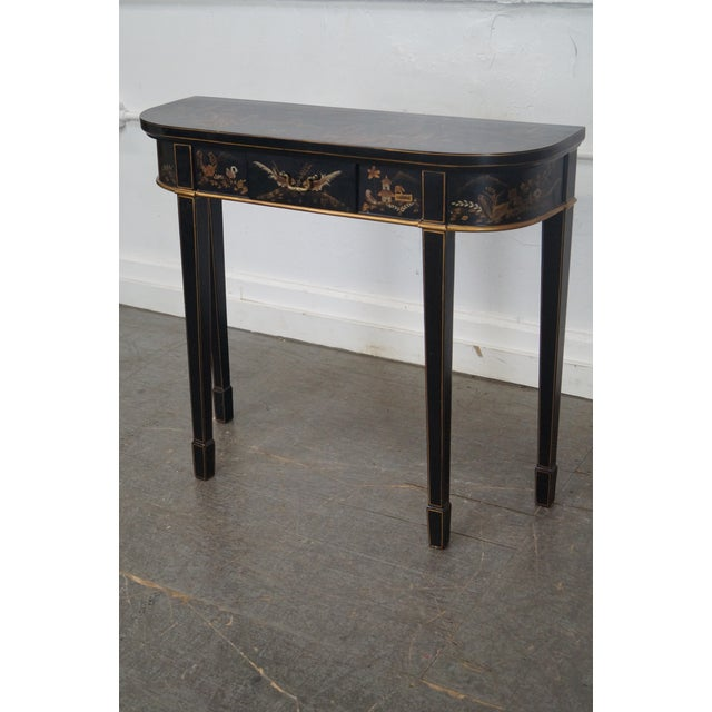Hand Painted Chinoiserie Demilune Console Table For Sale - Image 10 of 10