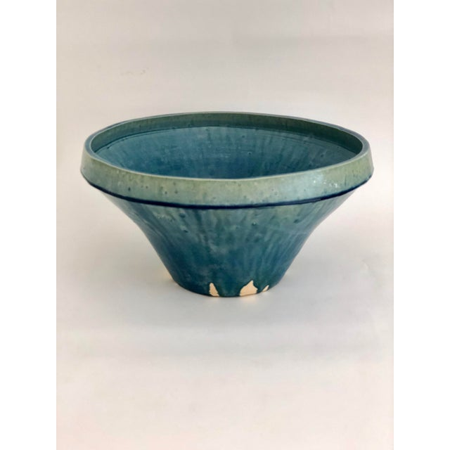 Boho Chic Cerulean Glazed Pottery Bowl For Sale In Los Angeles - Image 6 of 6