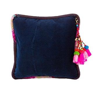 Navy / Ashes of Roses Velvet Throw Pillow For Sale