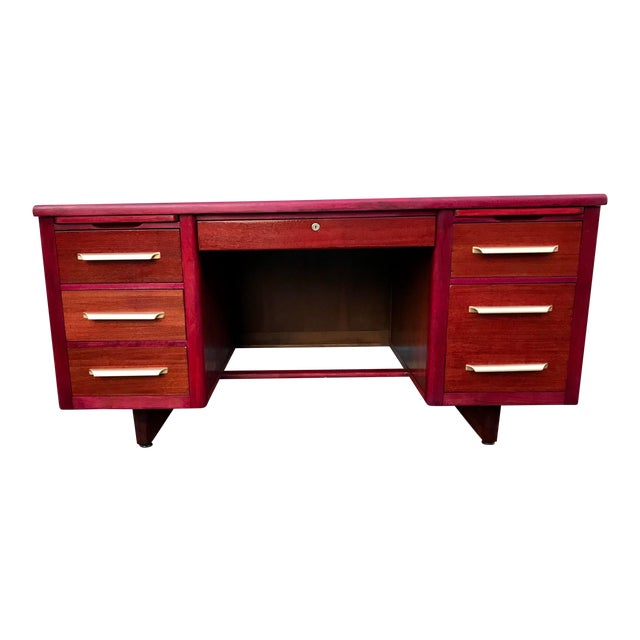 1950s Refinished 'Painted Lady' Pontoon Base Executive Desk For Sale