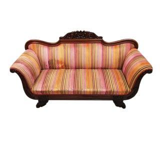 Fabulous Vintage Swedish Biedermeier Sofa Original BeautifulTutti Frutti Striped Velvet Upholstery For Sale