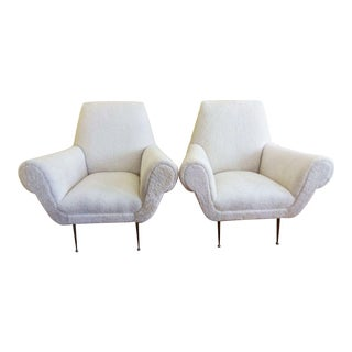 Shearling Upholstered Italian Armchairs - A Pair