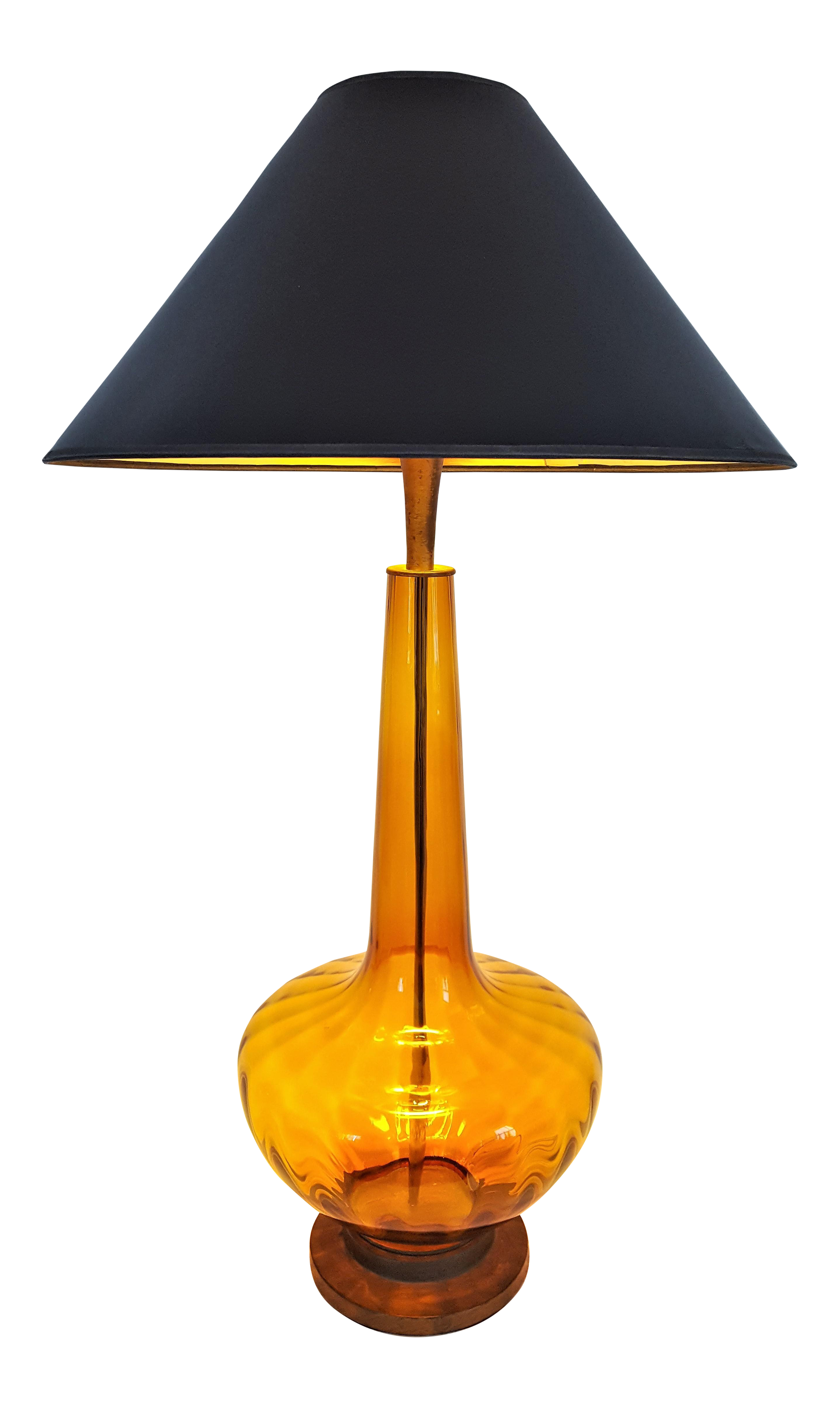 Gentil Large 1950u0027s Vintage Murano Amber Glass Table Lamp Italy Italian Mid  Century Modern MCM Palm Beach Boho Chic Tropical Amber